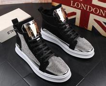 Men luxury rhinestone metal plate platform high tops shoes