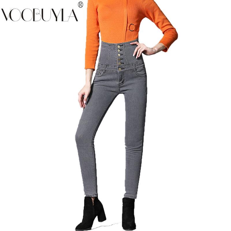 b63700399d Grande Pantalones Las gray Además Jeans Mujer Terciopelo De S Cintura Alta  Invierno Mujeres Cálida Tamaño Lápiz 6xl 2018 blue Black ...