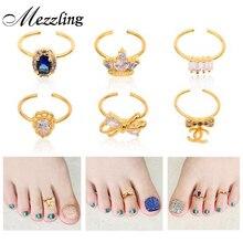 2015 New 1pcs Bow Crown Rhinestone Diamond Toe Nail Rings Gold Alloy Elegant