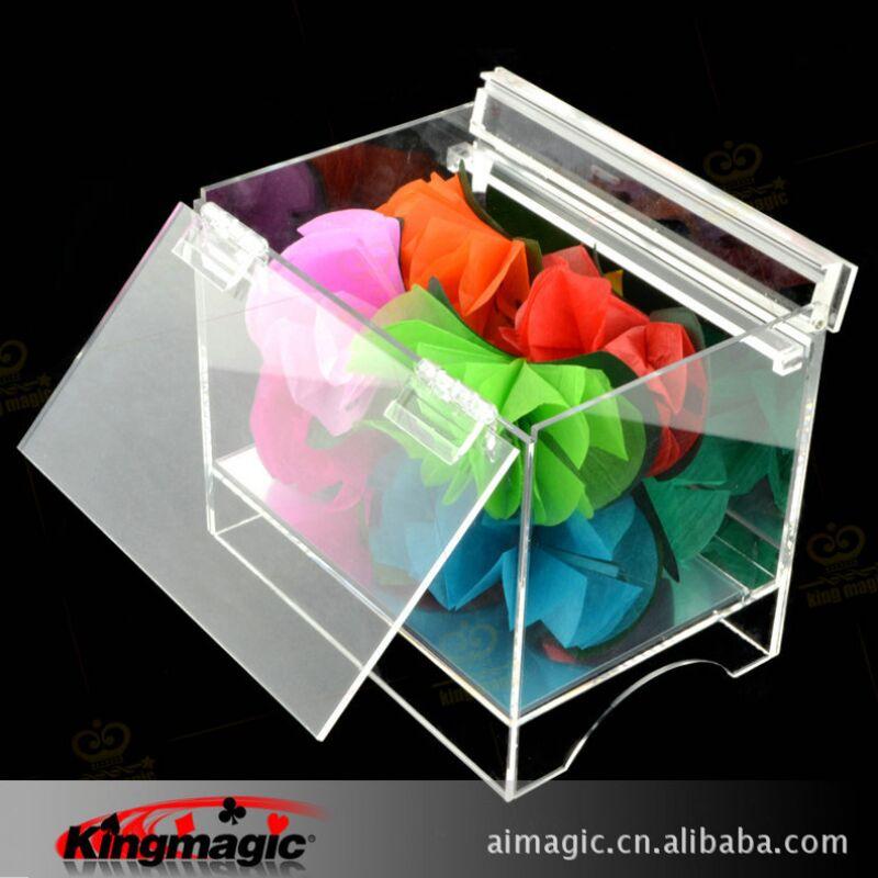 Livraison gratuite boîte de cristal apparaissant fleur scène fleur accessoires magiques tours de magie jouets drôles