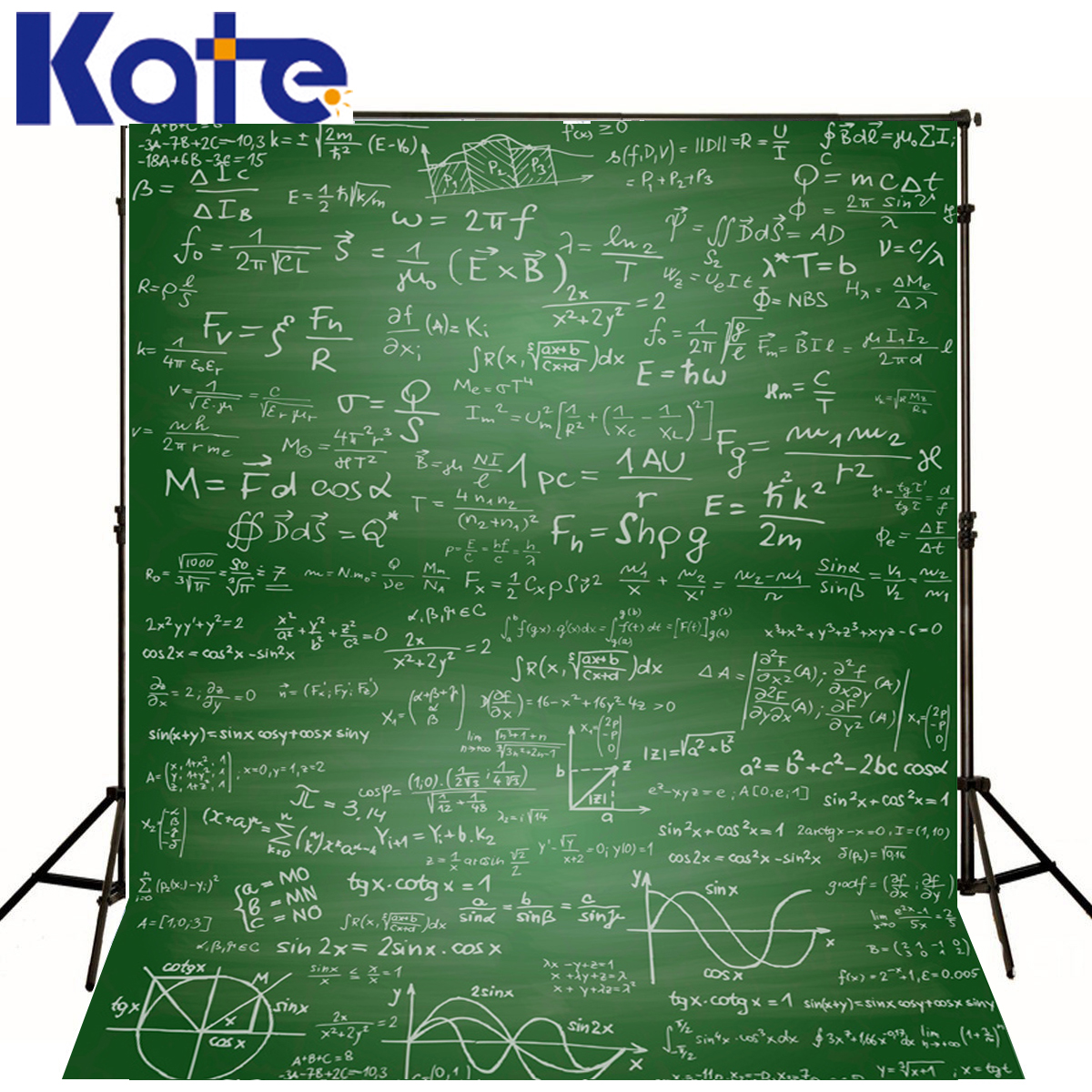 Kate 8x8ft Children Background Back to School Mathematical Equation Formula Photo Studio Backdrop Green Board Chalk Fotografia