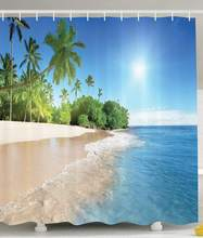 Ocean Shower Curtain Decor Tropical Palm Trees Sunny Island Beach Scene View Picture Fabric Bathroom With Hooks