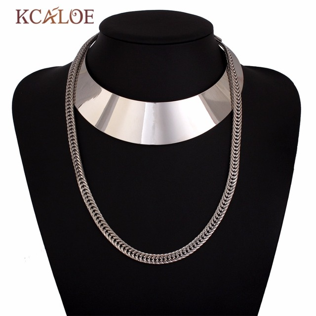 Bijoux Collar Statement Necklace Fashion Jewelry Gold /Silver Chain Charm Metal Accessories vintage Choker Necklaces For Women
