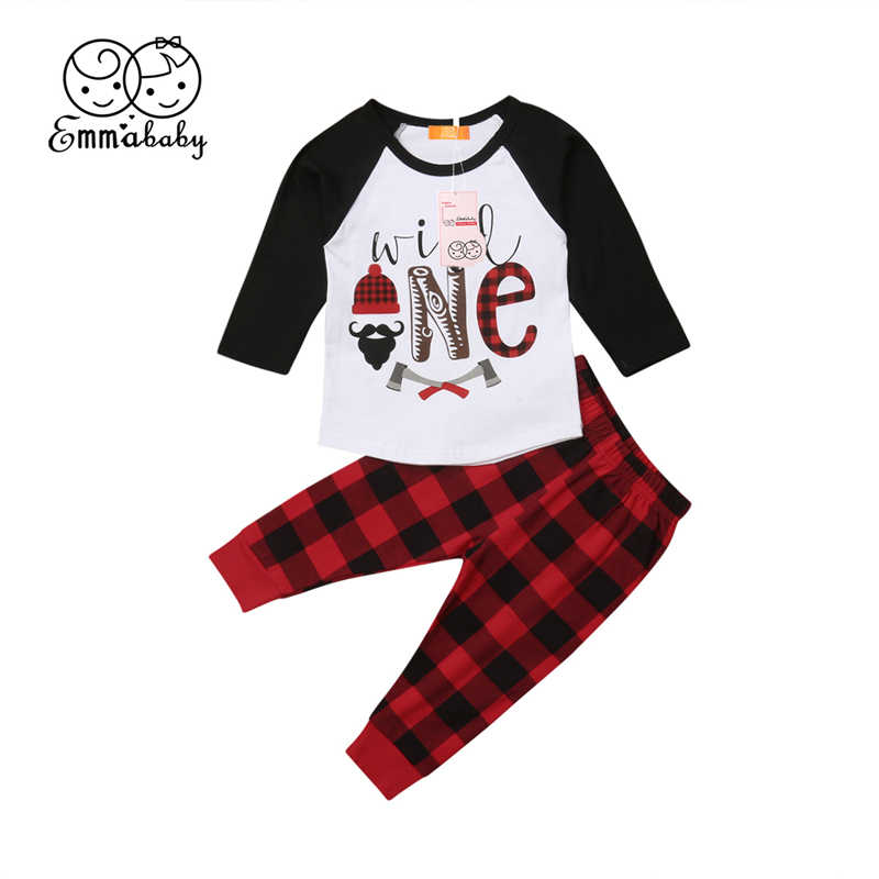 4f33f27eb5c5 Christmas Baby Boy Girls Clothing Set Toddler Kids Long Sleeve T-Shirt Top  Plaid Pants