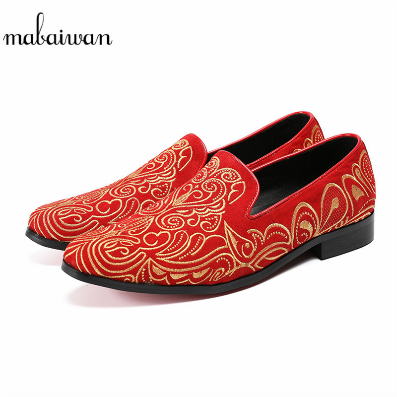 Mabaiwan New Indian Men Casual Shoes Loafers Gold Embroidery Slipper Red Suede Wedding Dress Shoes Men Leather Flats Size 38-46 mabaiwan white men shoes handcrafted designer loafers smoking slipper wedding dress shoes men rivets party flats plus size 38 46