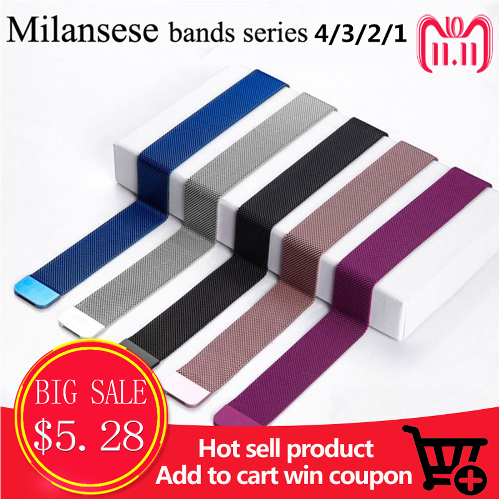 Milanese loop for aplle apple watch band 44mm 40mm 42mm 38mm Stainless Steel strap Bracelet watchbands for iwatch series 4/3/2/1 milanese loop band 1 1 for apple watch 42mm 38mm milanese magnetic bracelet stainless steel strap for iwatch band series 1 2 3 4