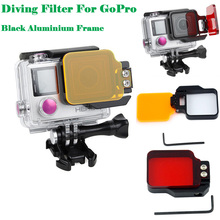 GoPro Accessory Underwater Sea Diving Red Orange Color Flip Filter Silver Black Aluminium Frame For GoPro Hero 3+ 4 Housing Case