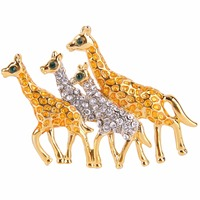 Bella Fashion Walking Giraffe Family Black Enamel Lovely Puppy Dog Pet Animal Brooch Pin Austrian Crystal
