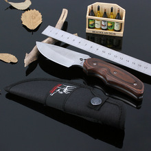 BUCK 076 Fixed Blade Knife Stainless Steel Tactical Hunting Knife Household Outdoor Survival Camping Tool Wood Handle