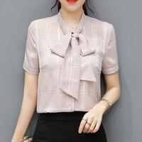 Casual Fashion Plaid Shirt 2017 Spring New Was Thin Bow Short Sleeves Chiffon Shirt Woman Multicolor