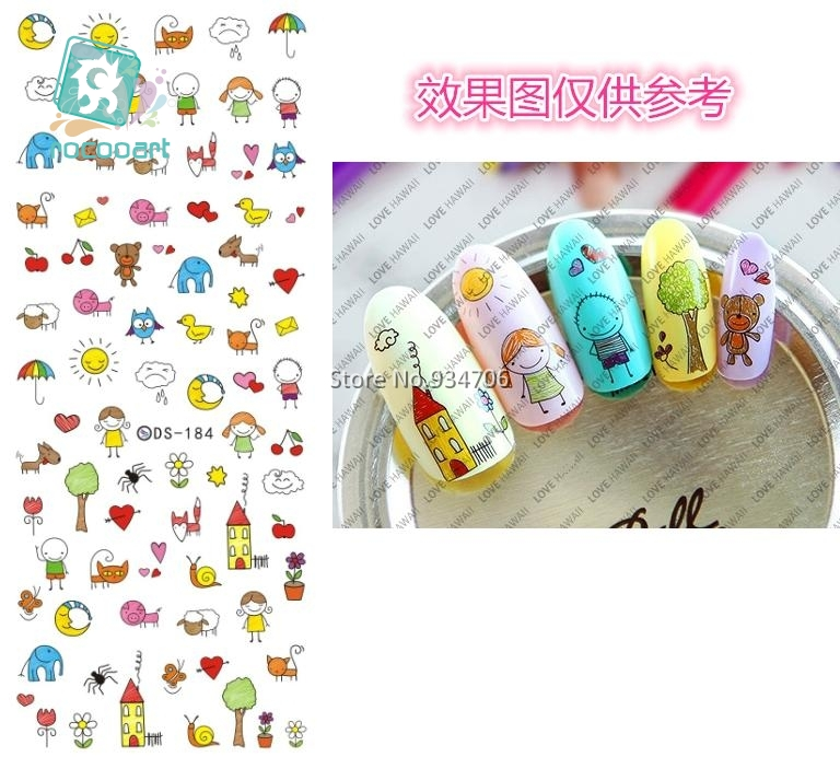 Rocooart DS184 DIY Nail Design Water Transfer Nails Art Sticker Cartoon Picture Nail Wraps Sticker Watermark Fingernails Decals rocooart dls377 382 water foils nail art sticker fashion nails cartoon harajuku sailor moon decals minx nail decorations