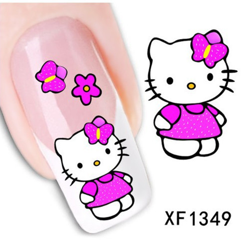 ZKO 1 Sheet Optional Flower Bows Cat Etc Water Transfer Sticker Nail Art Decals Nails Wraps Temporary Tattoos Watermark Tools