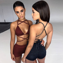 2 piece sets womens outfits sexy crop tops bra hollow out party club cross bodycon shorts fashion
