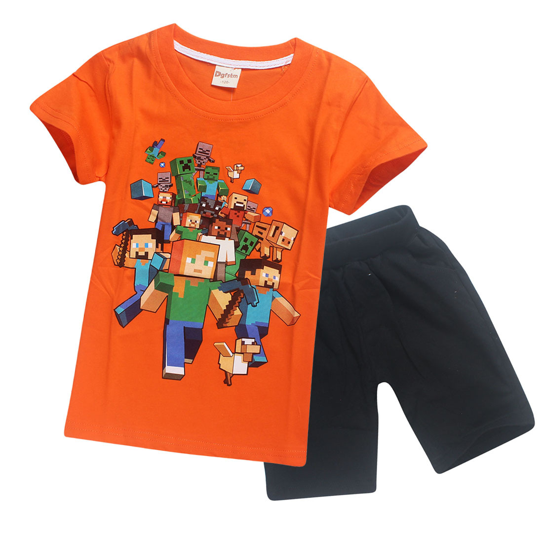 2018baby boy clothes summer cotton boys girls children's shirt short-sleeved T-shirt  shorts suit Minecraft cartoon pattern