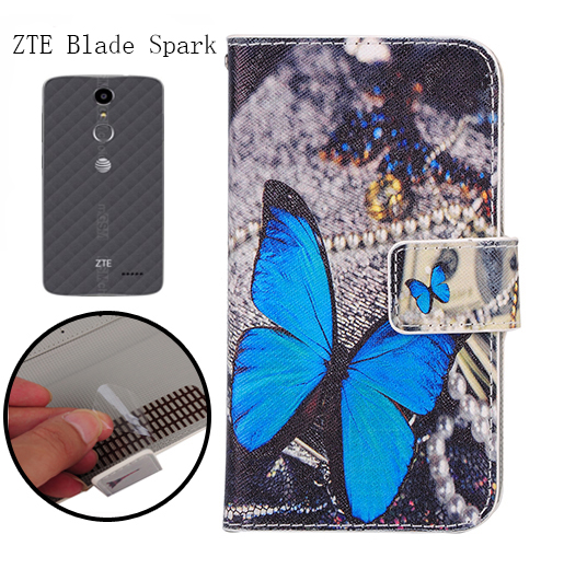 big sale 1c004 882a4 US $4.49 10% OFF|FSSOBOTLUN,For ZTE Blade Spark Z971 Phone Flip Case  Fashion Painting Patterns PU Leather Wallet Stand Cover With 2 Card Slots  -in ...