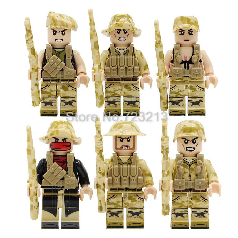 Army military minifigures lego bricks Custom WWII French heads x5