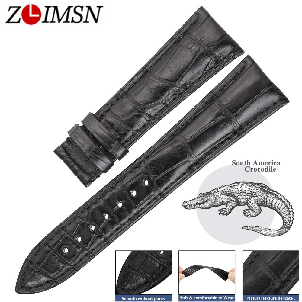 ZLIMSN Double Luxury Crocodile Leather Watch Black Bands Mens Women Strap Suitable for Panerai 14mm-24mm Alligator Watchband