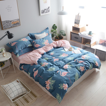 Cartoon Lovely Flamingo 100% cotton bedding set bedlinen Twin Double Queen King size duvet cover bed sheet pillowcase(China)