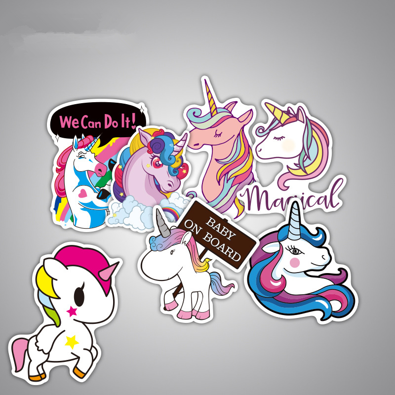 Image 3 - 7Pcs Multi Color Unicorn Car Sticker Waterproof Cartoon Horse For Computer Personalized Suitcase Notebook Car Stickers #B1312-in Car Stickers from Automobiles & Motorcycles