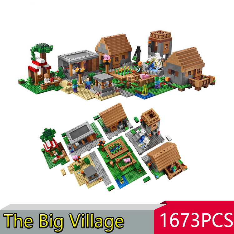 LEPIN 1673pcs My World The Village Minecraft Model building kits blocks Educational anime action figures children toys  21128 hot toys 10pcs lot generation 1 2 3 juguetes pvc minecraft toys micro world action figure set minecraft keychain anime figures