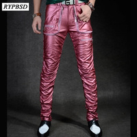 Men's Leather Pants Slim European and American Fashion Personality Locomotive Washed PU Leather Pants Punk Nightclub