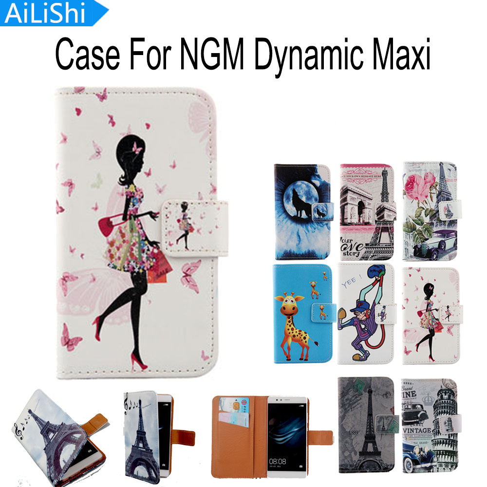 AiLiShi Accessory Hot Flip Cover Skin Pouch With Card Slot Elegant Painted PU Leather Case Phone Case For NGM Dynamic Maxi