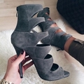 Grey Gladiator Style Suede Women Shoes Pumps High Heel Stilettos Hollow Out Lace Up Size 11 Womens Shoes Pumps Sexy 2016 New
