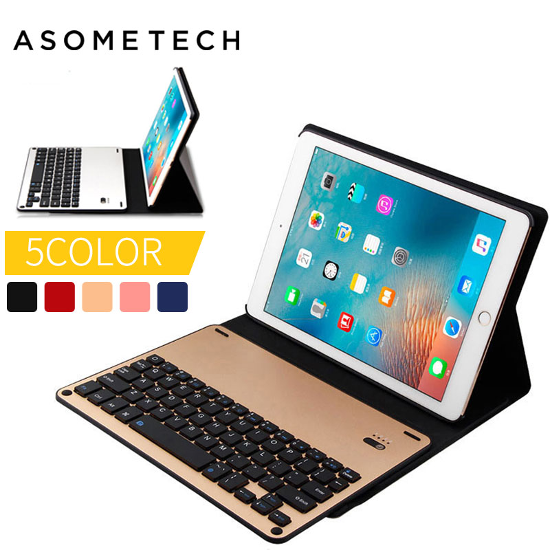 где купить Ultra-thin Detachable Wireless Bluetooth Keyboard Stand Portfolio Case Cover for ipad Air 1/2 Pro 9.7 PU Leather Magnet Keyboard дешево