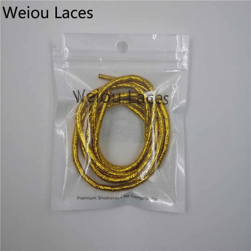 Resmi Weiou Altın/Gümüş Metalik Halat Danteller Ayakkabı Bağcığı Yanıp Sönen Glitter Pearlize Sparkle Ayakkabı Bağcıkları Elbise Ayakkabı Kadın