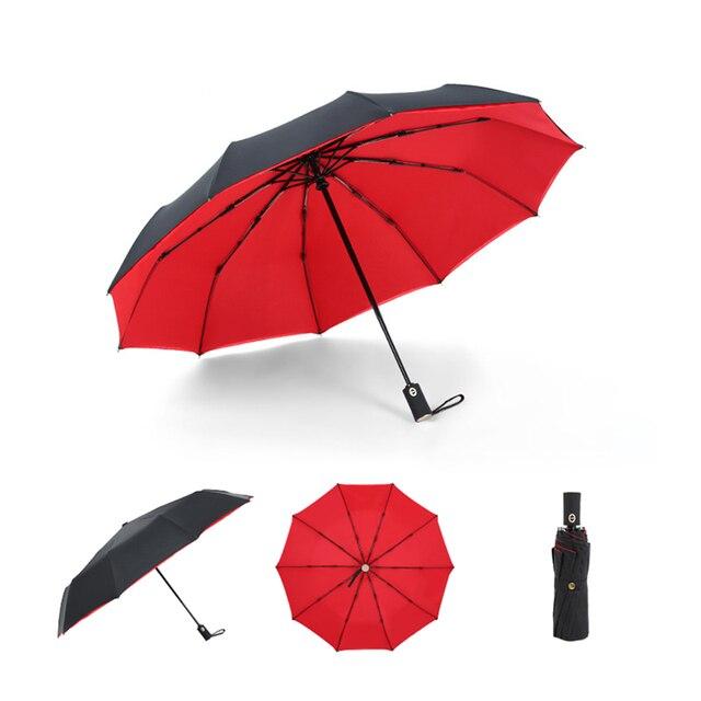 Automatic Double-layer Three Folding Umbrella Women Auto Luxury Big Windproof Umbrellas Gold Handle Men Windproof 10K Parasol