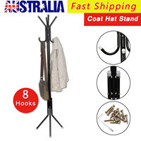 8 Hook Iron Coat Hanger Stand Hat Bag Clothes Metal Rack Style Storage AU
