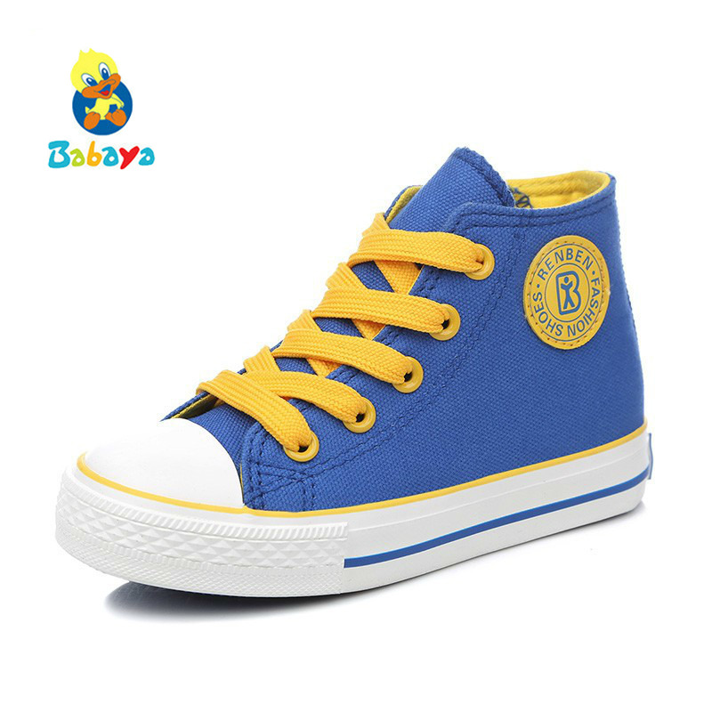 Children shoes girls sneaker 2017 Spring Autumn Candy color Lace-Up Child canvas shoes Boys High White Kids shoes for girls forudesigns kids sport shoes boys girls for children walking cycling running nebula pringting lace up sneaker shoes outdoor