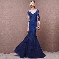 Элегантный синий шнурок вечерние платья отвесные рукавом аппликации мать невесты платья с v образным тюль русалка пром платье
