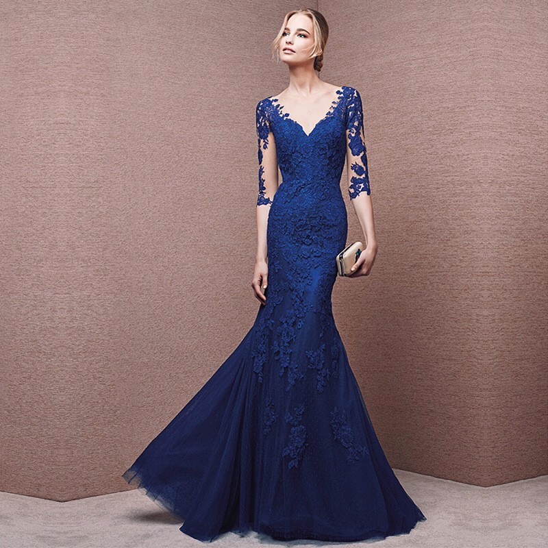 Elegant Navy Blue Lace Evening Dresses Sexy Sheer Sleeves Appliques Mother of Bride Dresses V neck Tulle Mermaid Prom Dress