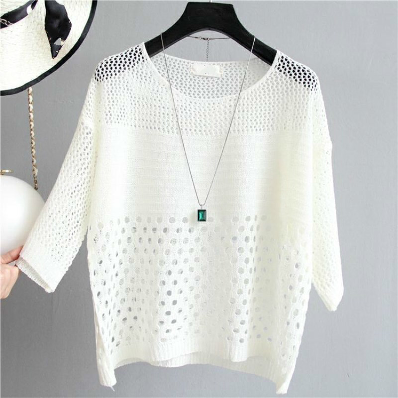 Women Thin Sunscreen Sweater Fashion O-neck Knitted Pullover Jumper Autumn Female Hollow Out Top