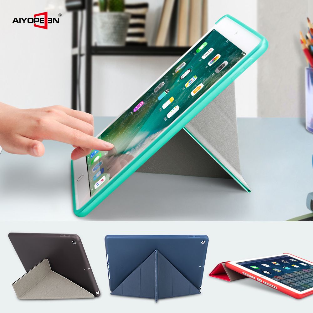 For Ipad 9.7 Inch 2018 AIYOPPEN Soft TPU Case Smart Cover Auto Sleep/Wake For Ipad 2017 2018 Case Multifunction Stand Holder