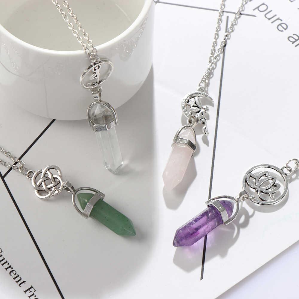 蛍石のネックレス天然石ペンダントクォーツ弾丸六角形ポイント振り子列レイキヒーネックレスジュエリー