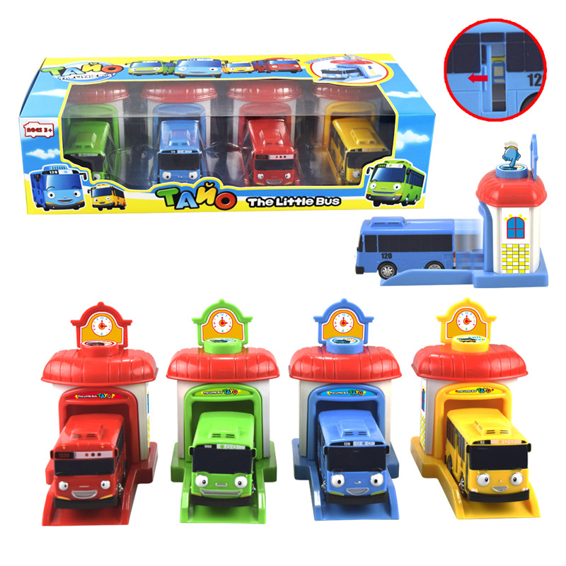 4pcs/set Scale Model Tayo The Little Bus Miniature Bus Baby Oyuncak Garage Tayo Bus Car Vehicle Funny Toys For Kids Children