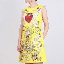 62921e0965 Nowy przyjeżdża 2018 lato kobiety sukienka sycylii kwiat anioł druku  diament frezowanie korona serce-line sukienka