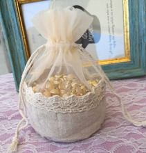 Lace Linen organza Gift Pouch 13x13cm (5″X5″) pack of 24 Baby Shower Birthday Party Wedding Favor Drawstring Bag