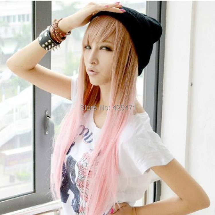 Aliexpress Buy New Two Tone Long Straight Highlights Hair Wigs