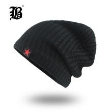 [FLB] Mens Skullies Winter Hat Beanies Knitted Cotto Hip Hop Stocking Plus Velvet Rasta Cap Star Bonnet Hats For Men F18007