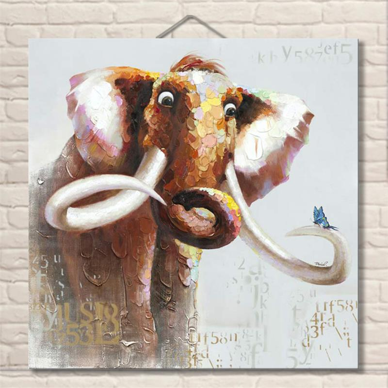 Noah Art Modern Abstract Animal Oil Paintings on the Wall Funny Elephant Pictures for Kids Room Decor Christmas Gift Unframed