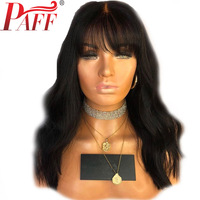 PAFF Short 130% Density 360 Lace Frontal Human Hair Wigs With Bangs Body Wave Brazilian Wigs Remy Natural Color Bleached Knot