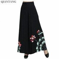 Vintage Zwarte Vrouwelijke Lente Wijde Pijpen Pant Chinese Stye vrouwen Katoen Elastische Taille Losse Broek Ml XL XXL 2369-1