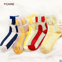 10PCS 5 Pairs New Spring And Summer Female Thin Stockings Striped Cotton Lace Spell Color Socks