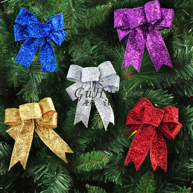 10pcs happy new year gold red silver christmas bow flannel xmas tree hanging ornaments flocked bowknot party decor purple blue - Christmas Tree With Purple Blue And Silver Decorations