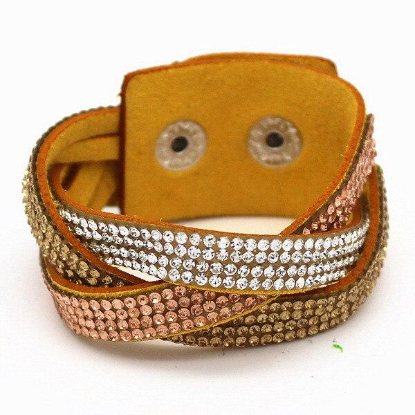 Multicolor Woven Leather Bracelet & Bangle Sonderabschnitt 2015 Multilayer Flechtarmbänder Kristall Gewebt Armband
