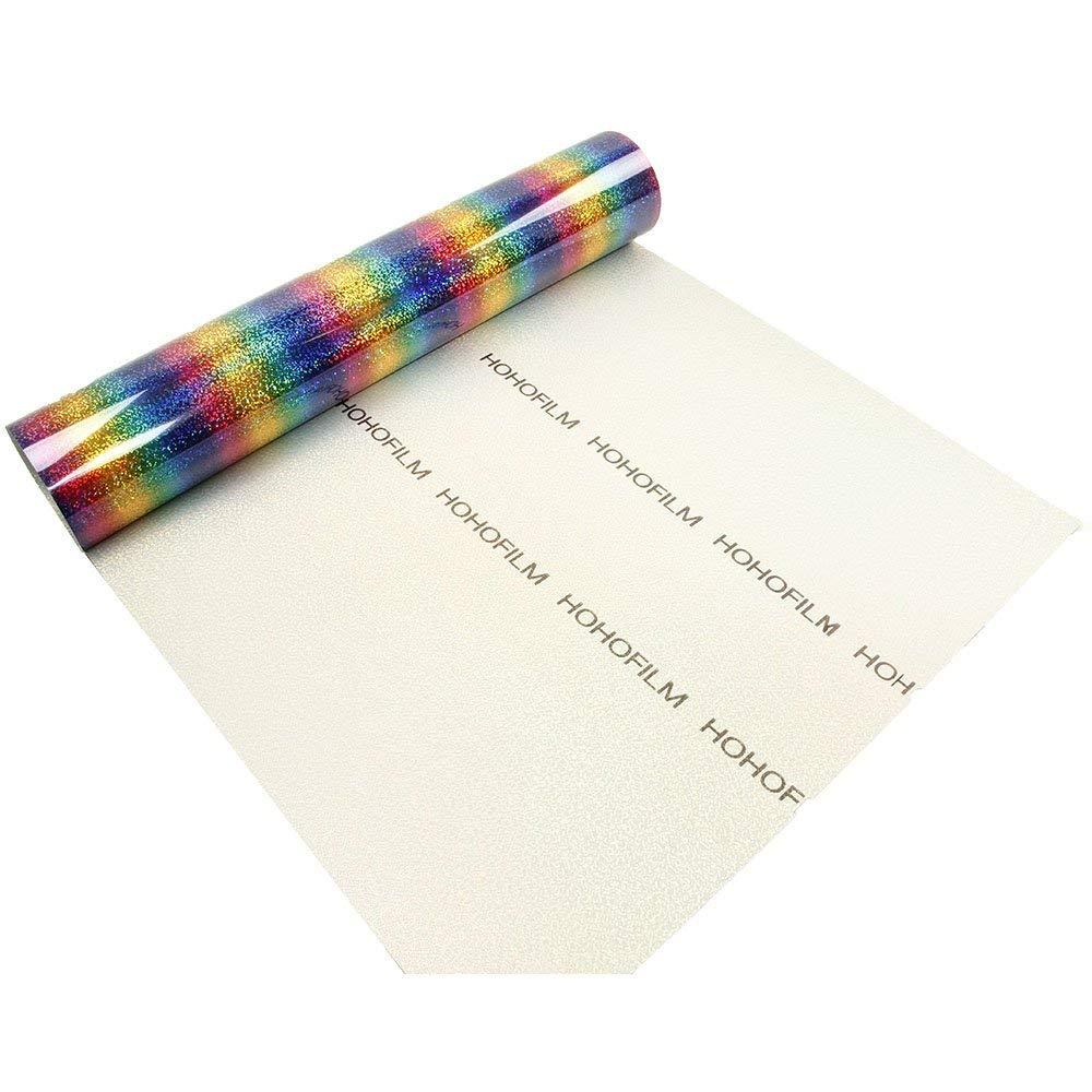 21x30 ซม.Rainbow สีความร้อนไวนิล Holographic Stripe Multi Iron-on HTV กาวกระดาษแผ่นเสื้อผ้าเสื้อยืด DIY