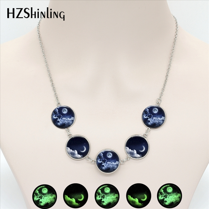 NGL-001 Tredy Crescent Moon Pendant Glowing in Dark Colorful Full Moon Glow Pendants Universe Jewelry Round Glass Necklaces